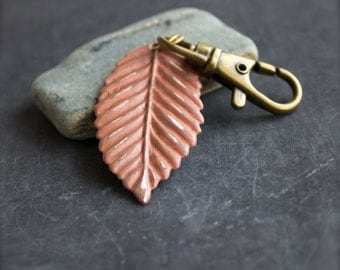 Light Soft Peach Pastel Patina Leaf Keychain Key Fob Terracotta Woodland Nature