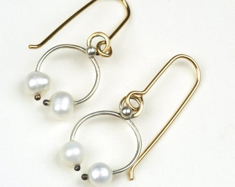 Cultured Pearl Earrings with sterling silver and gold, June birthstone, elegant Christmas gift