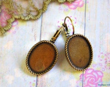 Oval Brass antique Gold bronze Blank Earrings Setting base , blank earrings base for 13x18 mm Cabochon , Lever Back earrings , Lead free