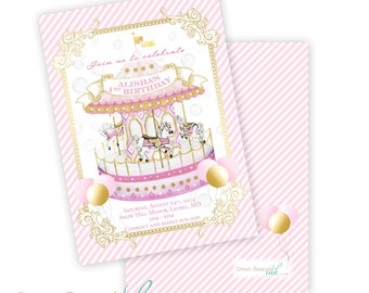 CAROUSEL Printable Party Invitation Printing Available