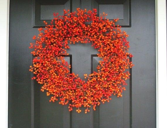 Orange Weatherproof Berry Halloween Wreath, Fall Wreath, Halloween Decor, Halloween Decoration, WEATHERPROOF Berries 24 inch Shown