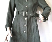 Beautiful Vintage Italian Grey Wool Military Coat by 'HAPPENING mods' SM/ X Sm