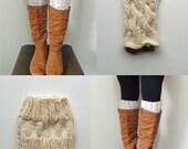 2 Patterns - Ana Cable Boot Cuffs Knitting Pattern & Basic Boot Cuffs Knitting Pattern / Digital PDF Knitting Patterns