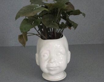 Creepy head Doll head white Planter  ceramic pot baby doll head  #27