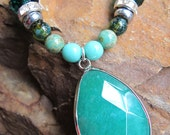 Teal Faceted Quartz - Beaded Necklace - Sterling Silver Adjustable Clasp, Made in Maine