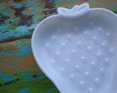 Strawberry milk glass dish  Vintage Hazel Atlas 1950's strawberry shaped snack plate. Now on SALE.