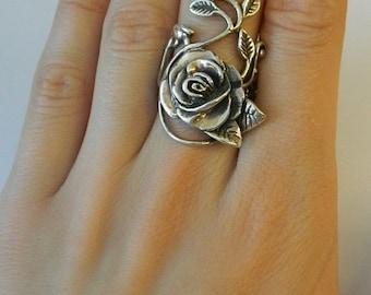 Vintage  Ring  Sterling Silver Rose vine  leaf design   Stunning very heavy