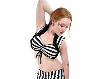 Black and White Stripe Carmen Top - bellydance, tribal fusion belly dance