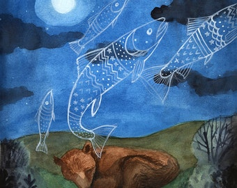 Bear Dreaming of Fish - 8 x10 PRINT, Hungry, Dreaming of Food, Animal dreams, Art Illustration, Watercolor Painting, Moonlight, Night Sky