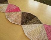 Curved Quilted Table Runner - Pink And Brown Runner -  Batik Runner - Modern Runner