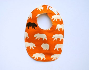 Organic Bib- Bears on Orange- Baby Bib- Eco Friendly Bib for Kids