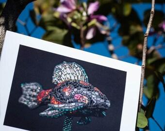 Blank Greeting Card - Koi fish mosaic