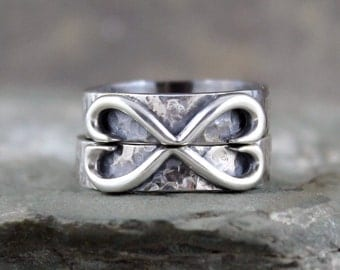Infinity Heart Wedding Bands - Set of Matching Wedding Bands - His and Hers - Set of 2 Sterling Silver - Band Sets - Hearts - Made in Canada