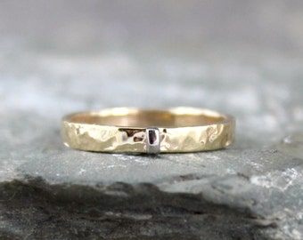 3mm 14K Yellow Gold Wedding Band with 14K White Gold Vertical Bar - Hammered Texture - Unisex Bands - Mixed Metal Rings - Commitment Rings