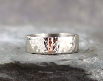 Hammered 14K White Gold with 14K Pink Rose Gold Vertical Bar Wedding Band - 6mm Wide - Mens or Ladies - Wedding Bands - Comittment Rings