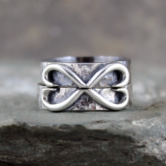Infinity Heart Wedding Bands - Set of Matching Wedding Bands - His and ...