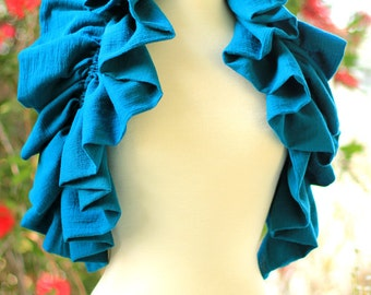 Ruffle Scarf - Teal Cotton Gauze Cowl - Victorian Fashion Collar