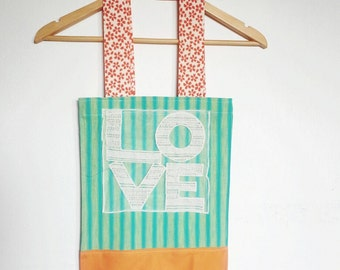 Love Tote Bag, Reusable Cloth Bag, Ready to Ship