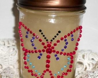 Candle, Canning Jar, Gardenia Scent, Butterfly, Rhinestones, Bling, Glitz, Floral Scent, Butterfly Decor
