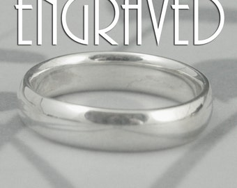 COMFORT FIT Band~Inside Ring Engraving~Custom Engrave~Plain Jane~5mm Wide Sterling Silver Wedding Band~Rounded Traditional Ring~Court Style