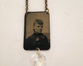 UPCYCLED Vintage Antique Tin-Type VICTORIAN Woman Lady Tin Type Portrait Photo Necklace with Crystal