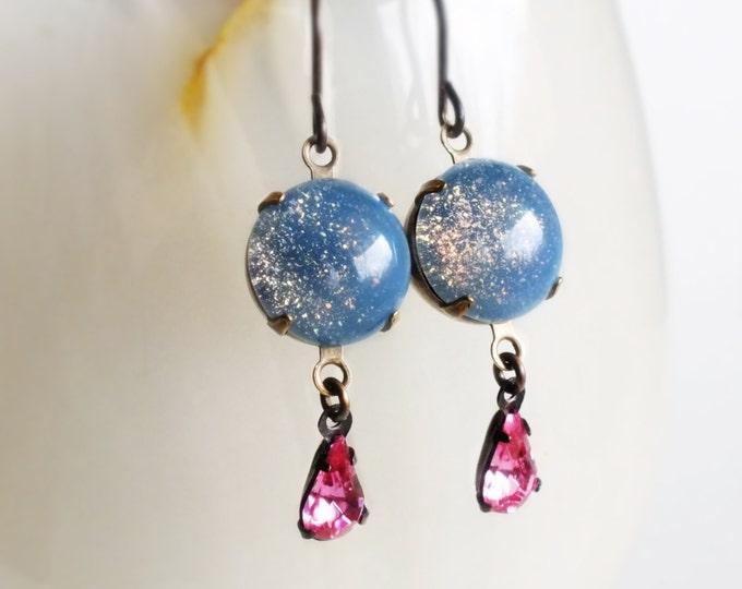 Opal Glitter Earrings Small Vintage Pastel Blue Pink Glass Opal Glitter Nail Polish Jewelry Delicate Pastel Dangles