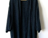 Black Patterned Rayon 80's Cardigan