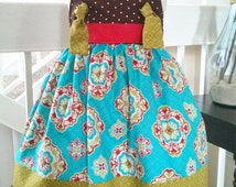 Girls Knot Dress, Brown and Teal Dress, Girls Fall dress, Girls Winter Dress, Birthday Dress, Size 2T Ready to Ship!