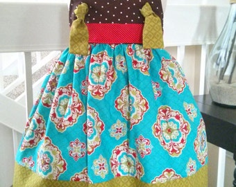 Girls Christmas Dress, Brown and Teal Dress, Knot Dress, Girls Birthday Dress, Toddler Dress, Size 2T Ready to Ship!