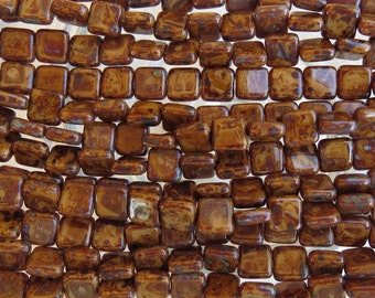 8mm Opaque Sahara Sands Picasso Czech Glass Flat Square Beads - Qty 25 (BW316)