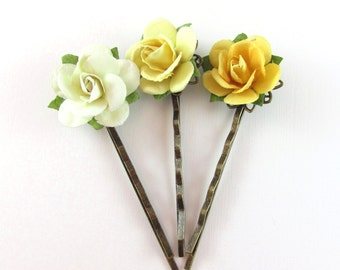 3 Yellow Flower Blossoms Bobby Pins for Hair