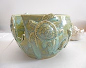 LARGE Sea Turtle Yarn Bowl - Knitting Bowl Beach - Handmade Pottery - for Mother's day Gift