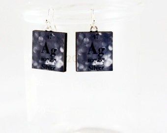 Silver Earrings Chemistry Jewelry - Periodic Table Science Dangle Earrings - Gift Idea