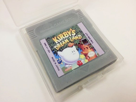 SOAP Gameboy cartridge parody with case, energy citrus scented, Kirby's Dreamland title