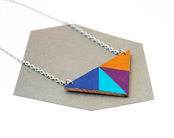 Geometric, wooden triangle necklace - dark blue, turquoise, purple mustard yellow - minimalist, modern jewelry