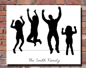 Custom Full Body Silhouette Portrait - Unframed 8x10 Art Print - Beautiful Unique Mothers or Fathers Day Gift - Trending