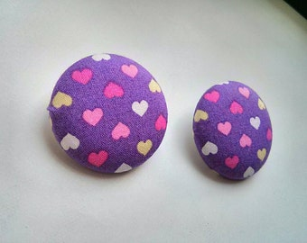 Tiny Colorful Hearts in Purple Large Cotton Fabric Button Ear Studs