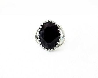Silver Cocktail Ring - Swarovski Crystal, Brass - Jet Black - The Cocktail: Large Oval Bezel Set