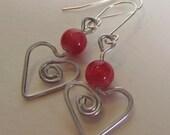 Beaded Wire Heart Earrings