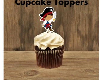 Pirate Boy Party - Set of 12 Brunette Pirate Cupcake Toppers by The Birthday House