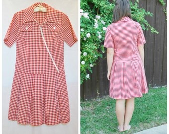 1960's Red Check Lillian Russell Day Dress - Drop Waist and Pleated Skirt