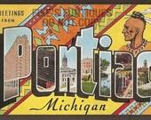 Pontiac, Michigan Vintage Linen Postcard - Greetings from Pontiac, Large Letter (Unused)