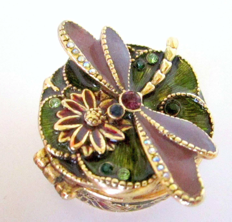 Vintage Dragonfly Pill Box Monet Trinket Box Enamel