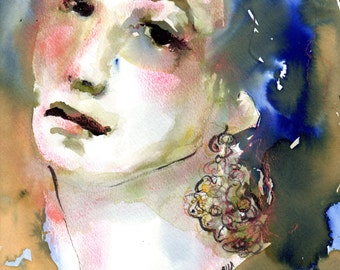 "Female Portrait, Original Watercolor Art ""Her Filigree Earrings"" Watercolor, Ink and Pastel 9 x 11"