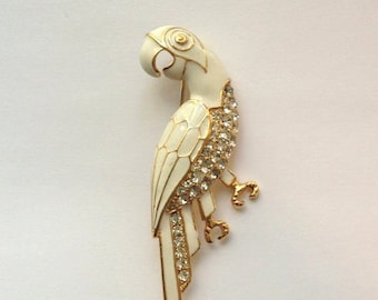 Beautiful vintage 80s white parrot enamel and rhinestone brooch //whimsical //figural //animal