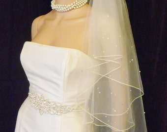 Pearl Crystal Wedding Veil - Pearl & Rhinestone Accents w/ Extra Soft Tulle