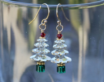 Sparkly Swarovski Crystal Christmas Tree 14k gold filled earrings - clear white trees, red top, green trunk, gold accents - ships free USA