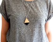 Dipped Wooden Diamond Necklace - Available in black, peach, mint or gold
