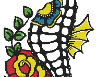Cross Stitch Kit By Illustrated Ink - Skeleton Seahorse - Day of the Dead Tattoo