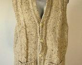 Vintage John Molloy Oatmeal Cream Colored Wool Knit Sweater Vest